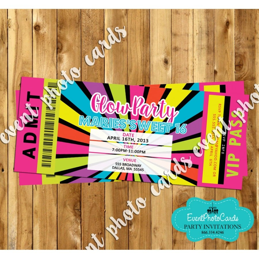 Glow Party Ticket Invitation 16, Sweet Fifteen Or Sixteen Party