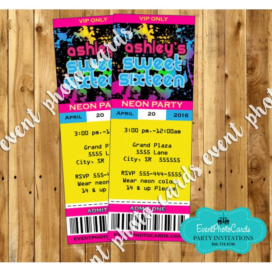 Glow Party Ticket Invitations