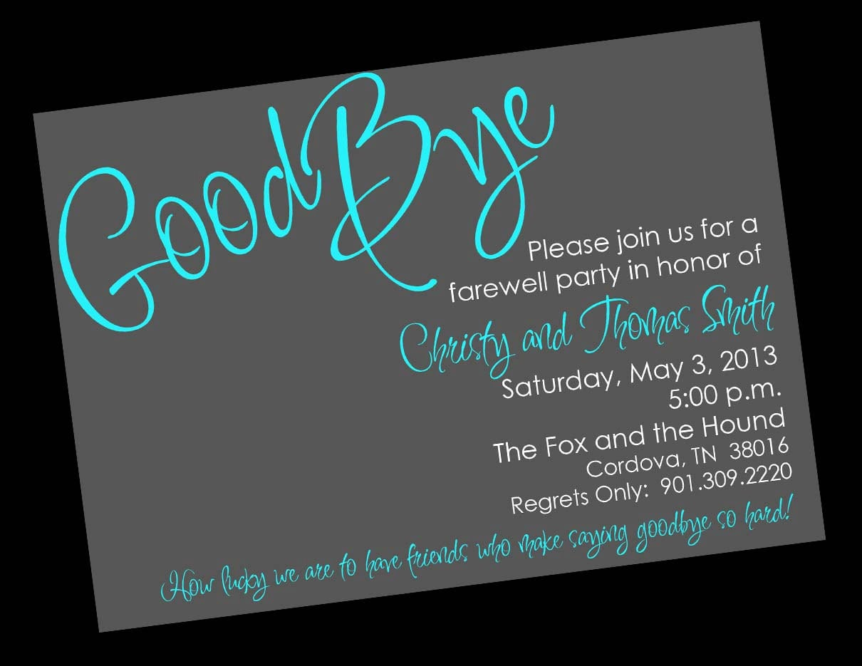 Going Away Party Invitation Message Minimalist