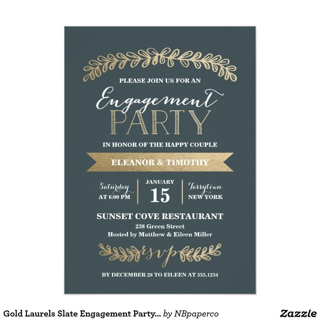 Gold Laurels Slate Engagement Party Invitation