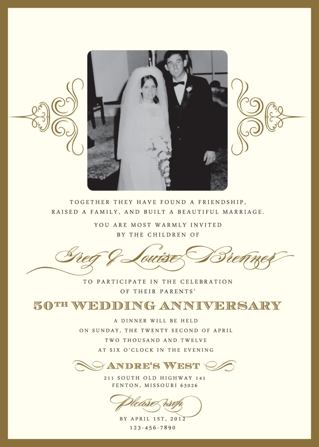 Golden 50th Anniversary Party Invitation Displaying Memorable