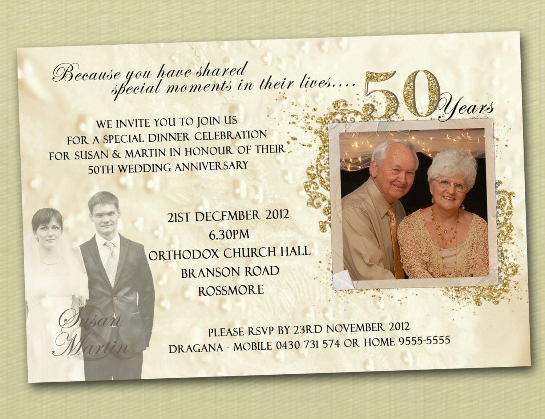 Golden Wedding Anniversary Invitation   Golden Wedding Anniversary