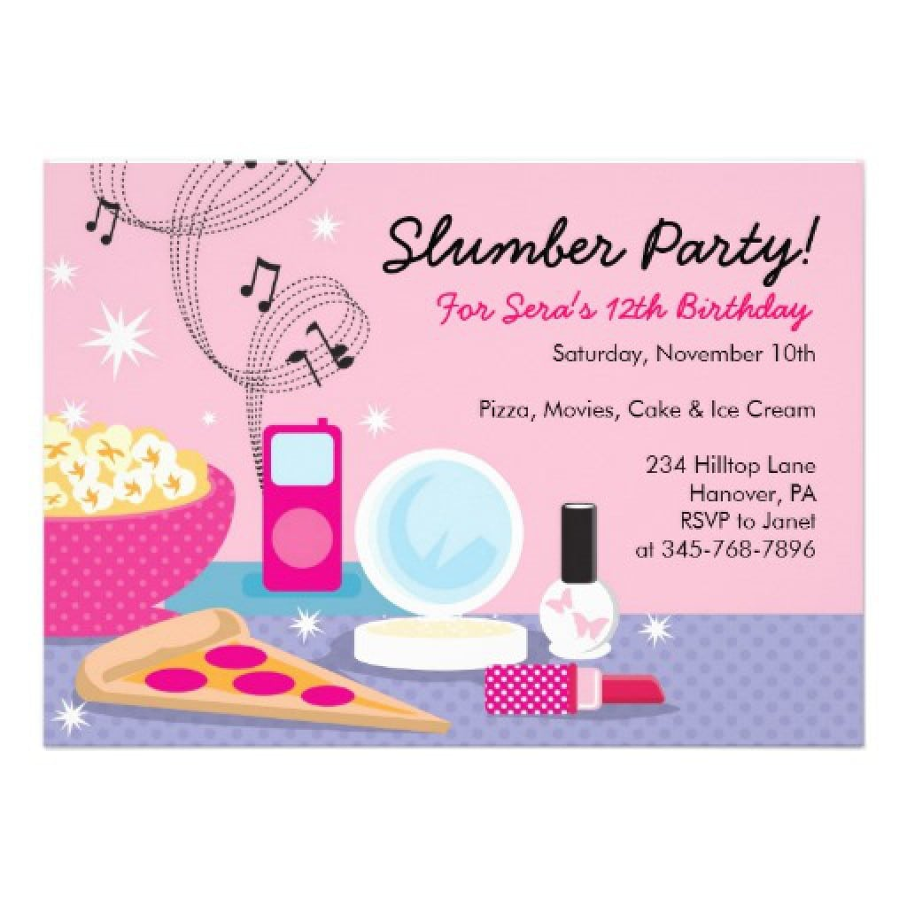 Good Free Printable Slumber Party Invitations As Modest Article