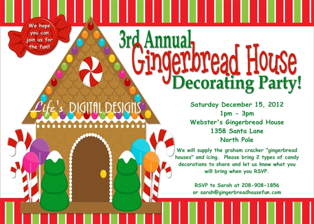 Gorgeous Free Gingerbread House Party Invitations Around Unique