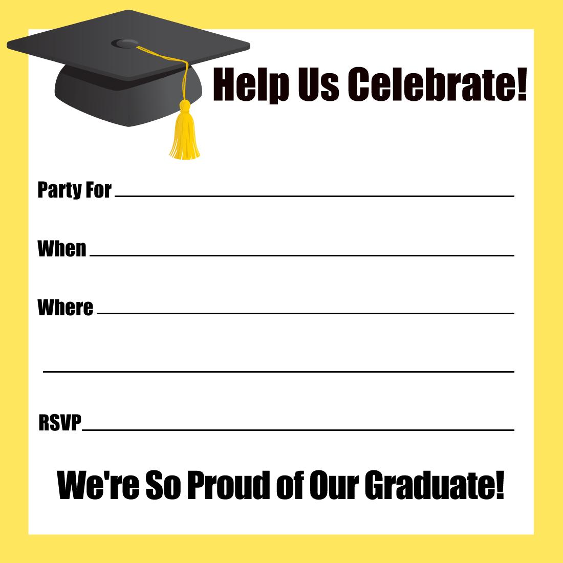 Graduation Cap Party Invitations Templates