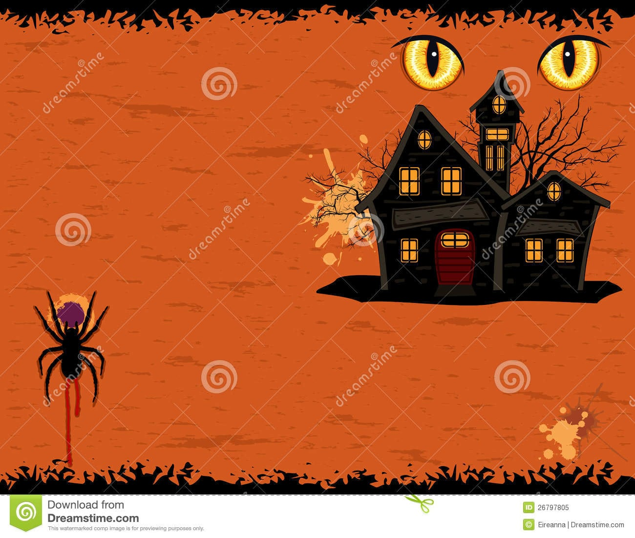 Grungy Halloween Party Invitation Card Royalty Free Stock Image