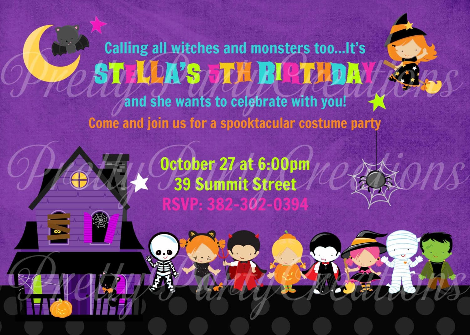 Childrens Halloween Birthday Party Invitations - Mickey Mouse ...