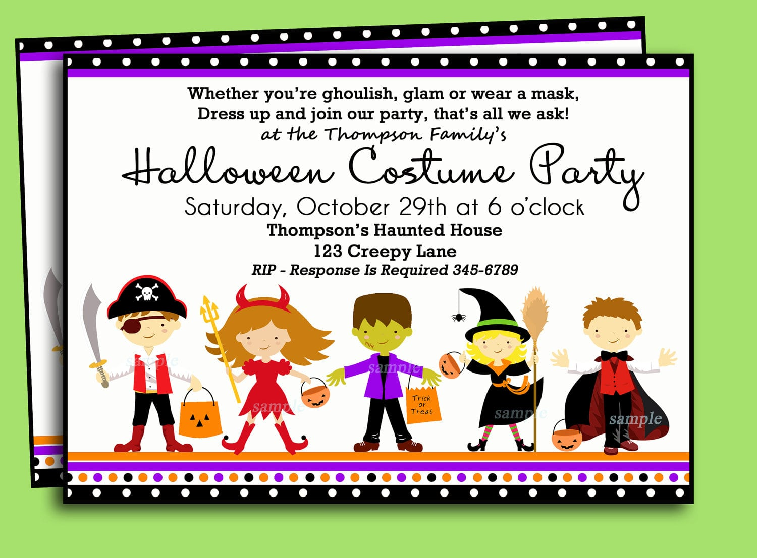 Halloween Costume Birthday Party Invitations