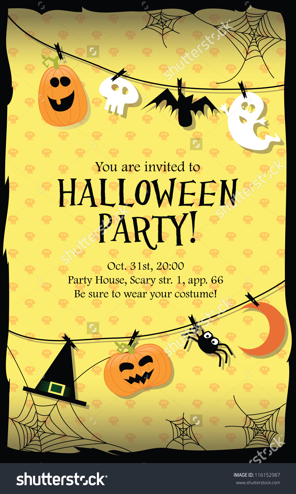 Halloween Party Invitation Card Stock Vector 116152987