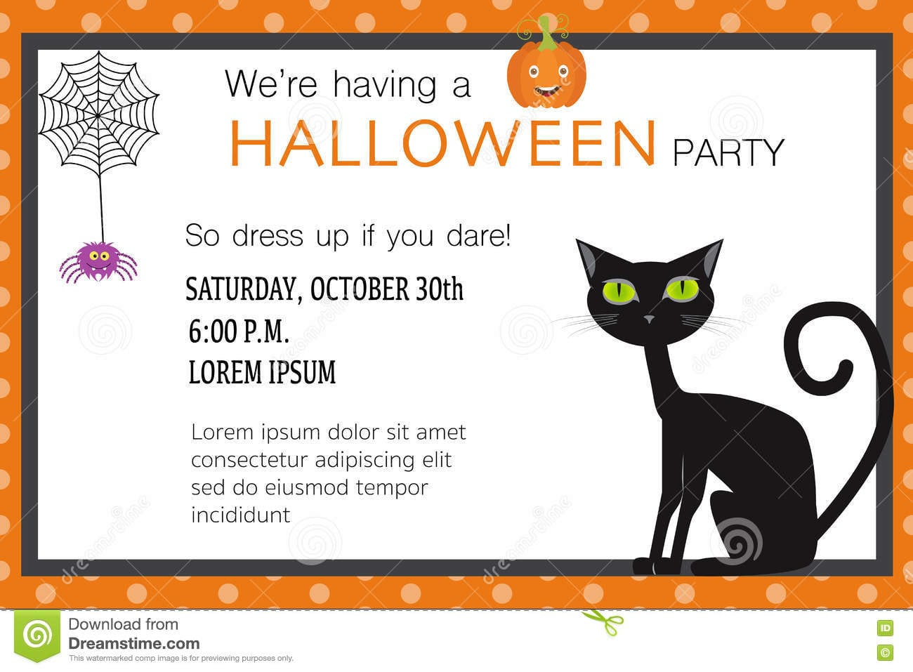 Halloween Party Invitation Cards Spider Web And Black Cat Illust