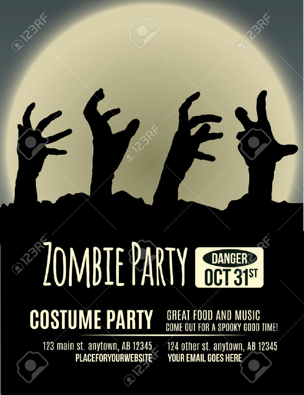Halloween Party Invitation With Zombie Hands Coming Up Out Of