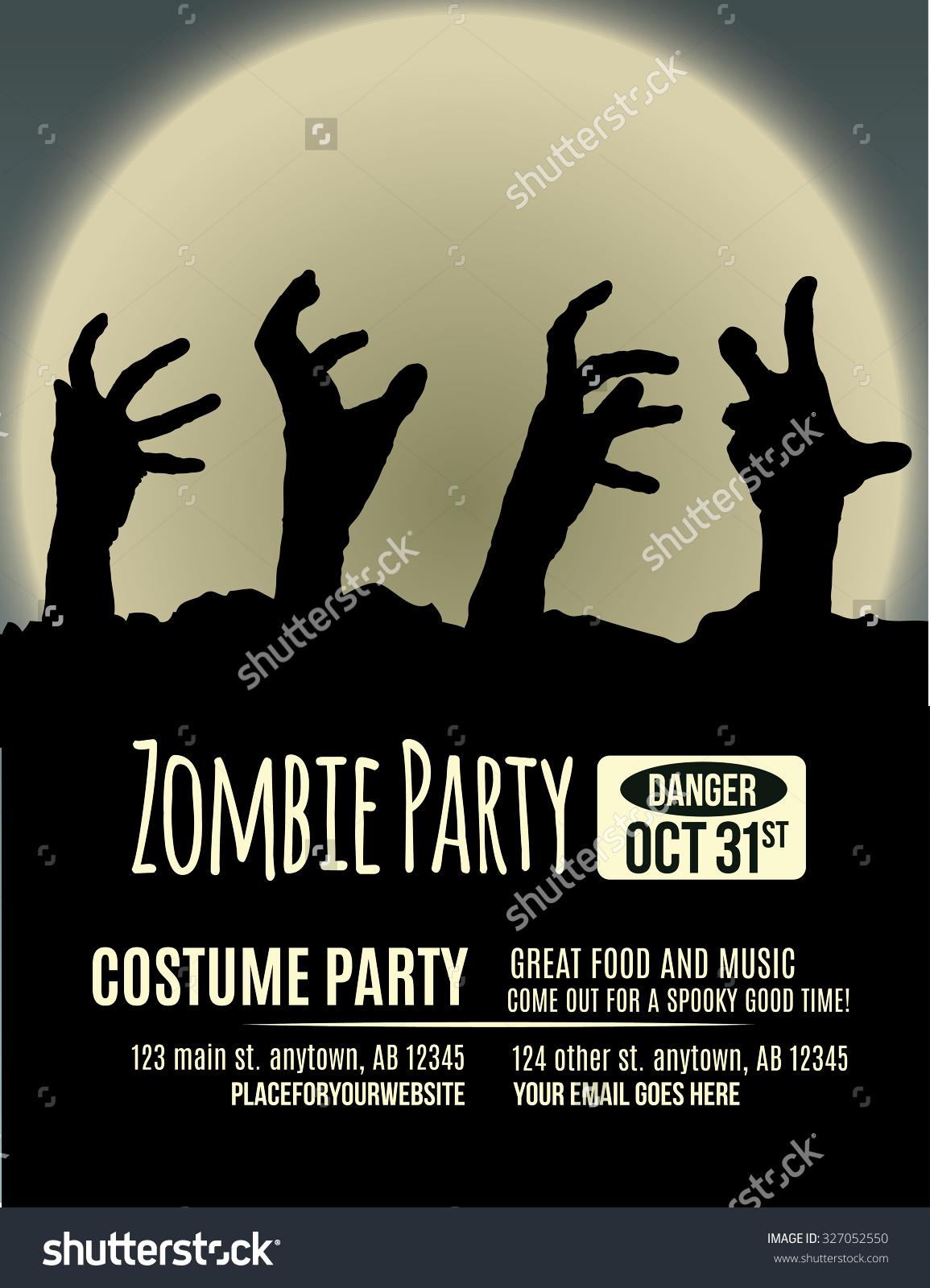 Halloween Party Invitation Zombie Hands Coming Stock Vector