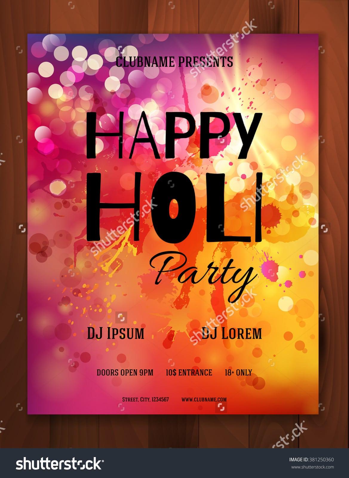 Happy Holi Festival Creative Flyer Banner Stock Vector 381250360