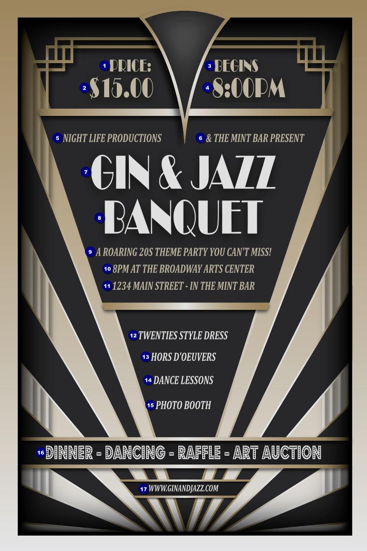 Harlem Nights Roaring 20's Great Gatsby Inspired Invitations