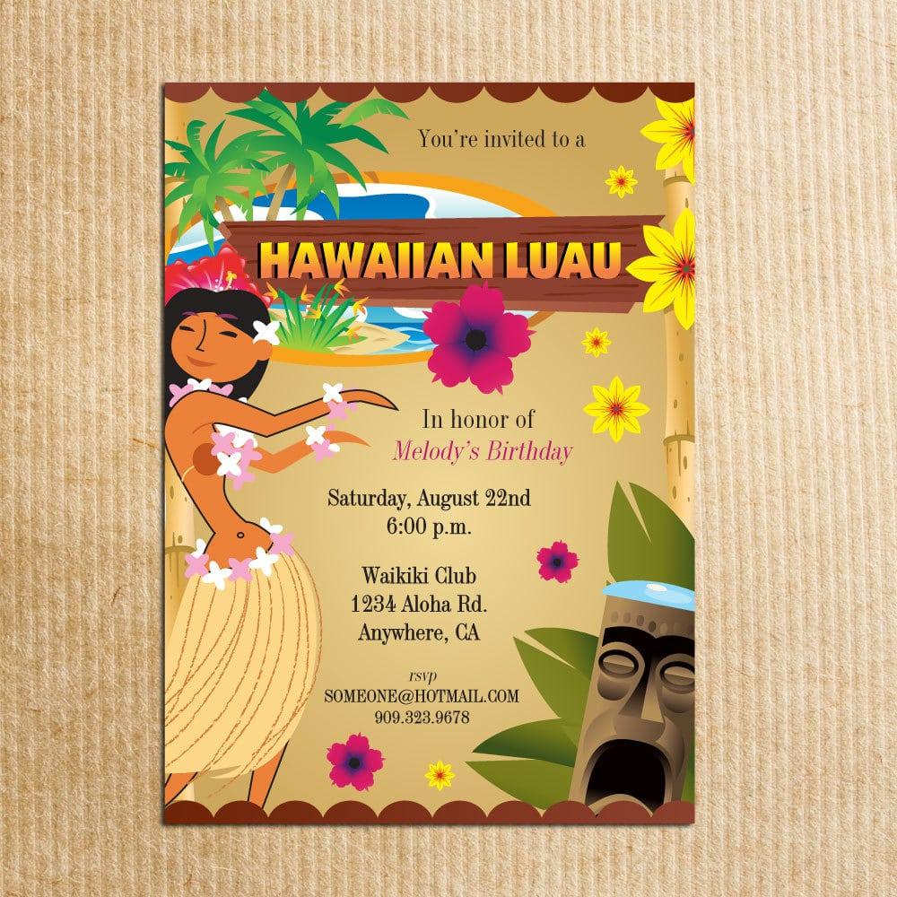 Hawaiian Luau Party Invitation