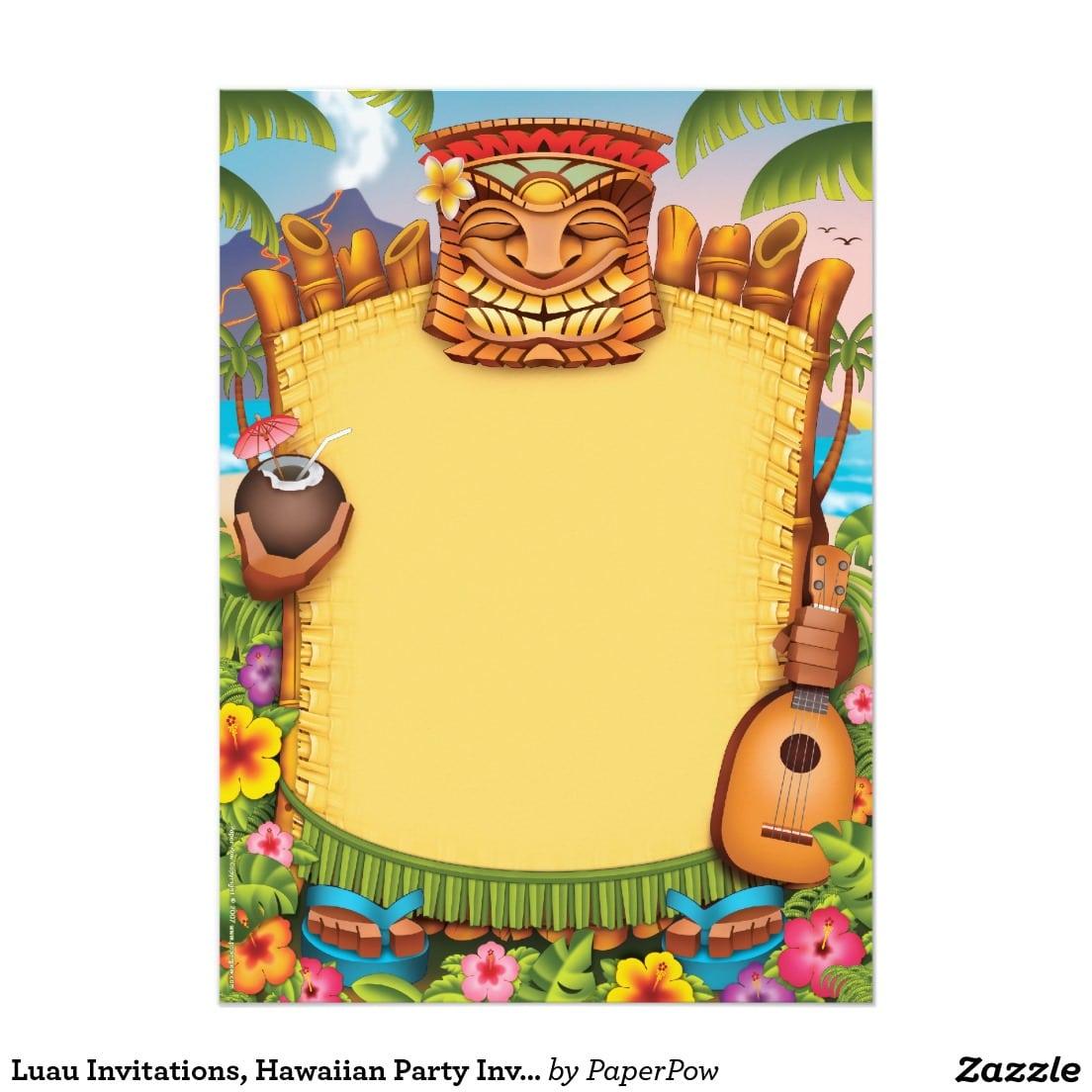 Hawaiian Themed Party Invitations - Mickey Mouse Invitations Templates