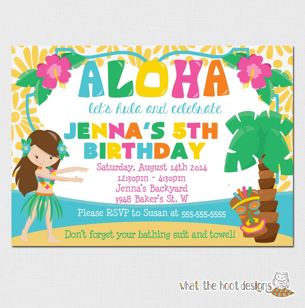 Hawaiian Theme Party Invitations
