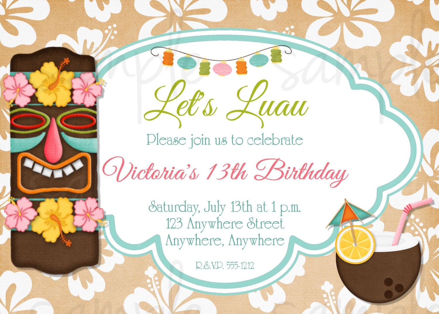 It is a graphic of Hawaiian Theme Party Invitations Printable with regard to homemade