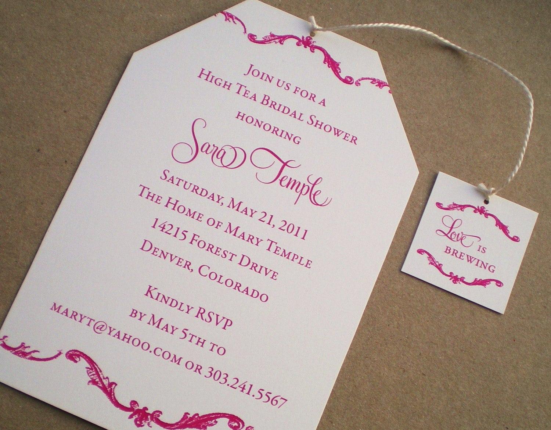 High Tea Bridal Shower Invitations