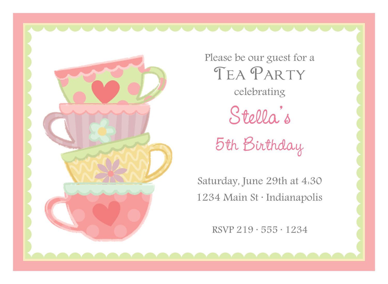 High Tea Party Invitation Wording