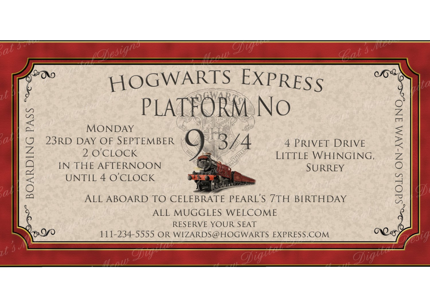 Hogwarts Harry Potter Birthday Invitation Printable, Personalized