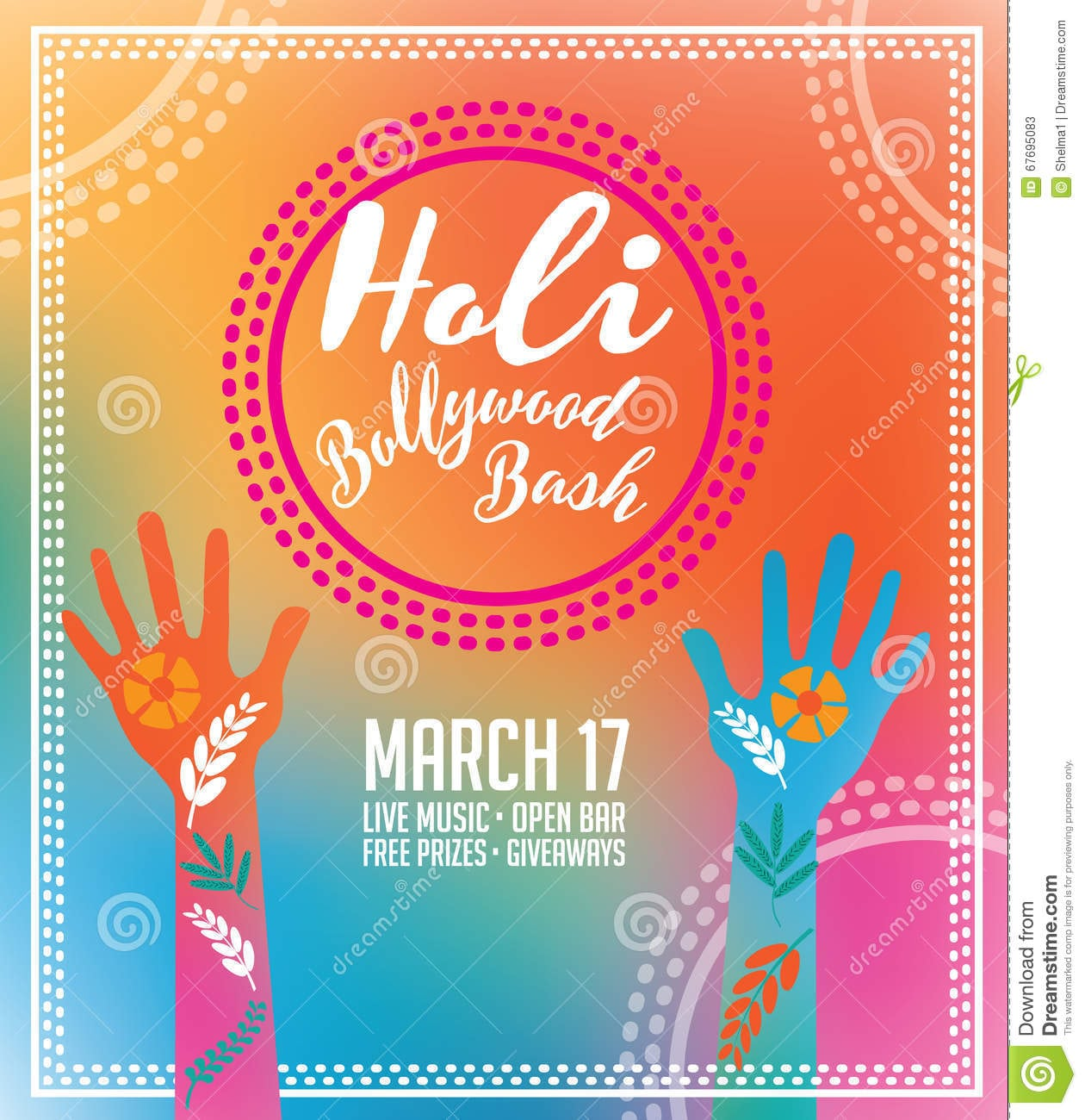 Holi Party Invitation Poster Greeting Card Design  Stock Vector