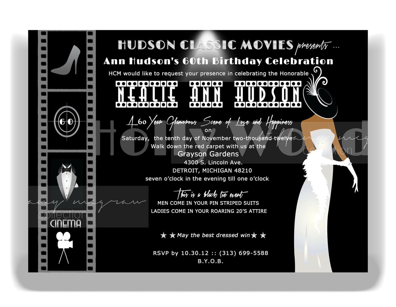 Hollywood Party Invitation Ideas