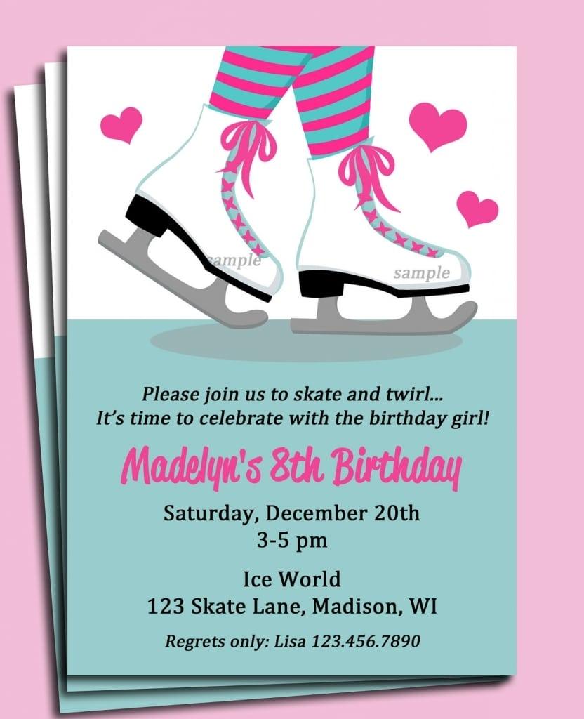 Ice Skating Birthday Party Invitation Wording Archives
