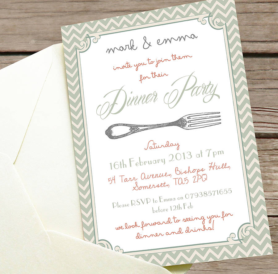 Incredible Italian Dinner Party Invitation Card Idea And White