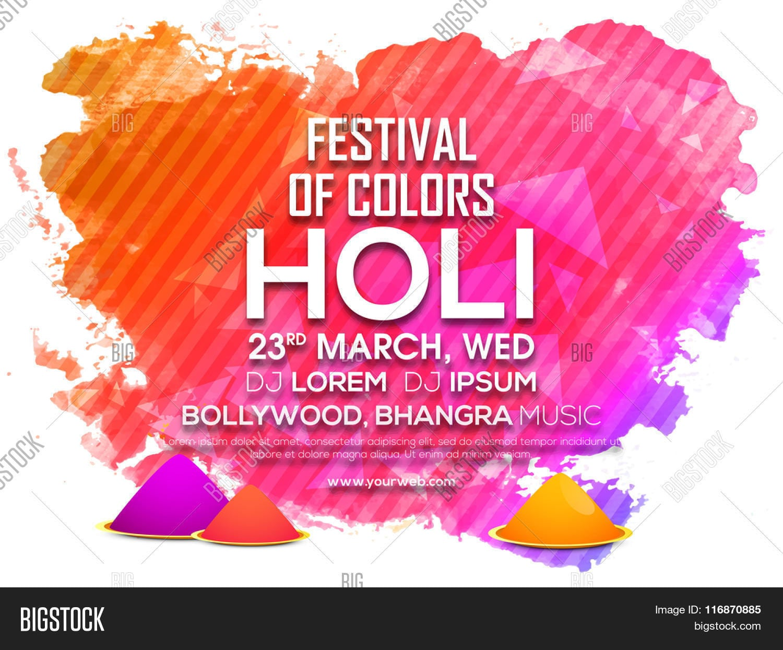 Indian Festival Of Colours, Happy Holi Celebration Invitation Card