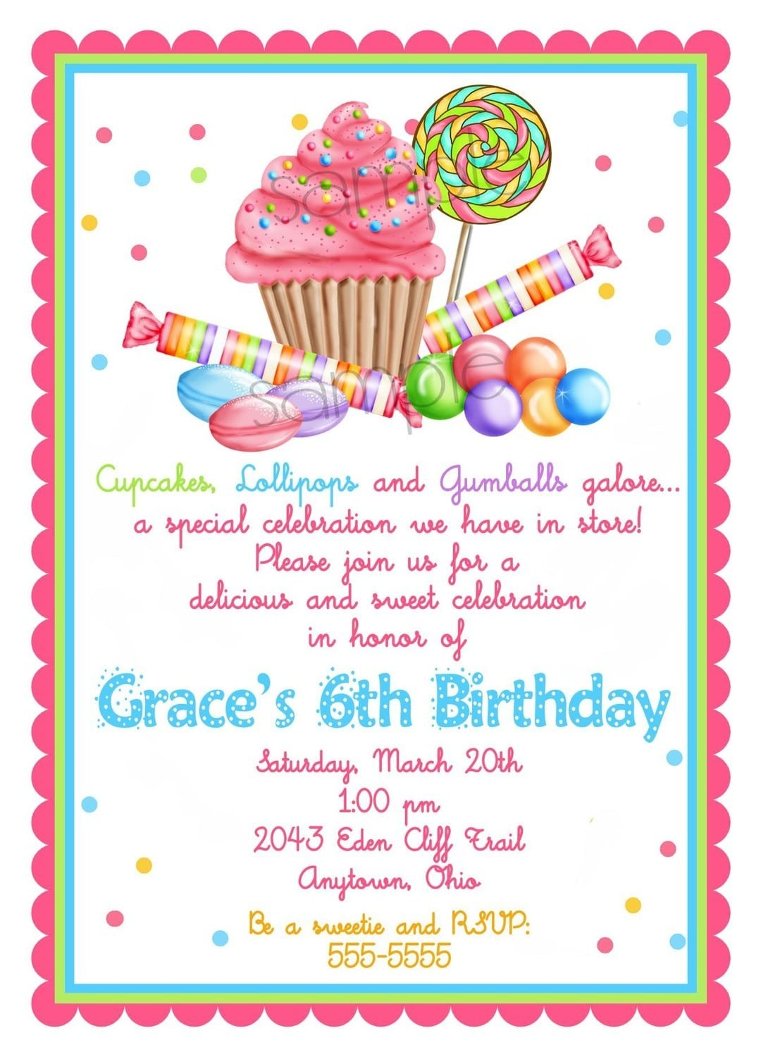 Innovative Cotton Candy Party Invitation About Rustic Article