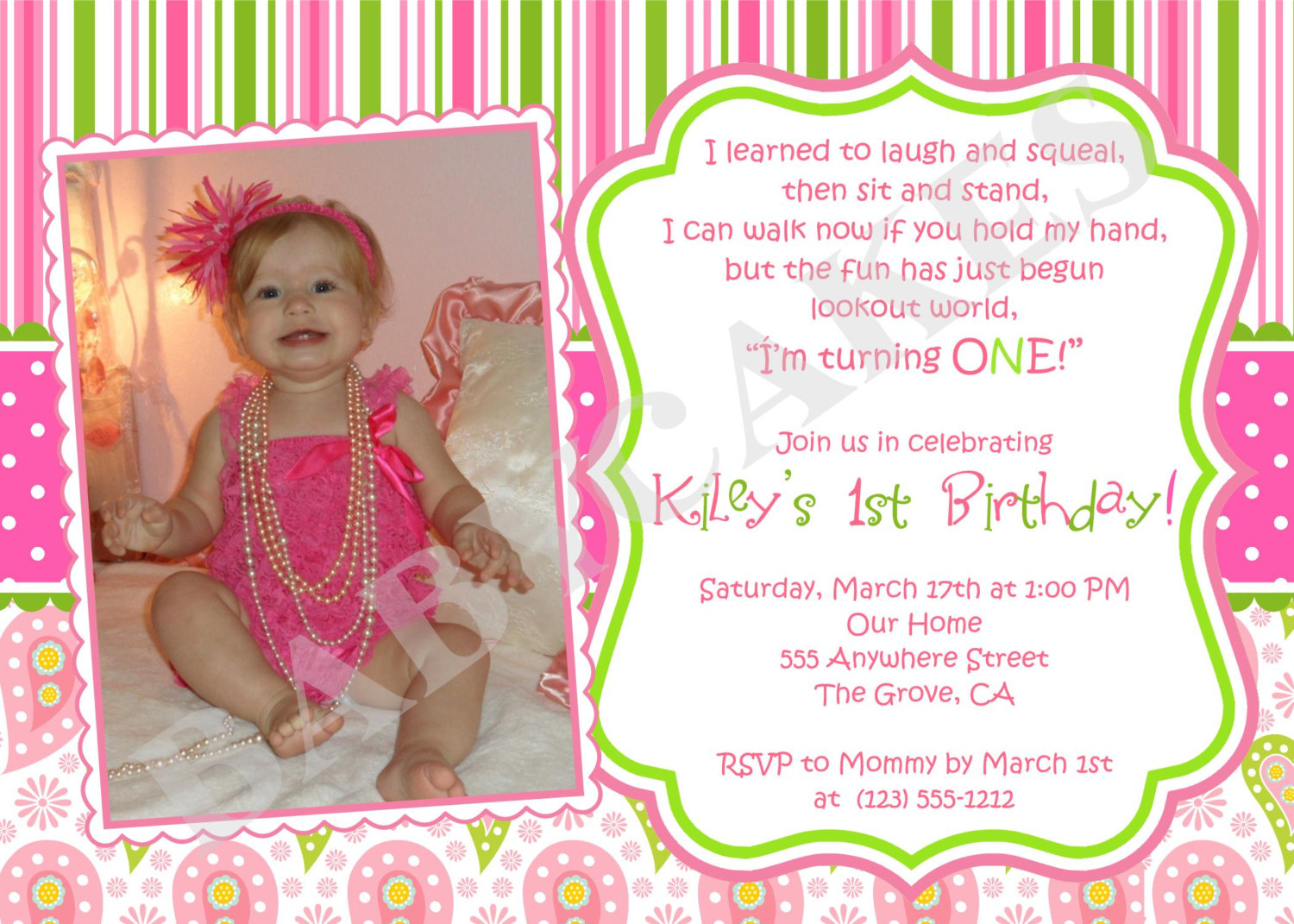 Invitation Card For First Birthday Party