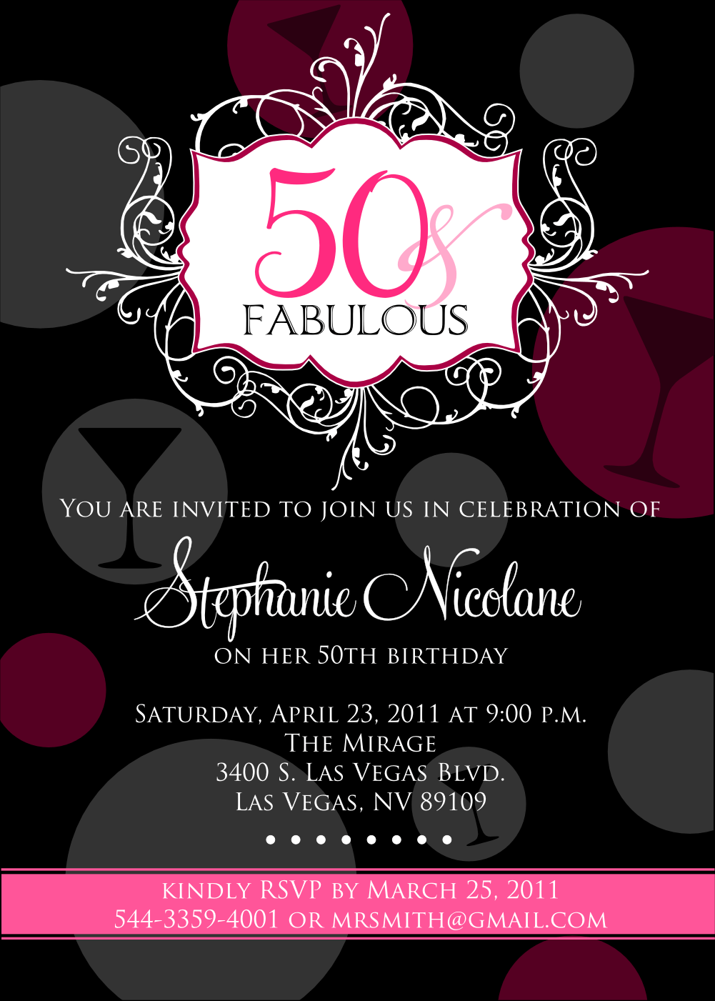 Invitation Samples For 50th Birthday Party