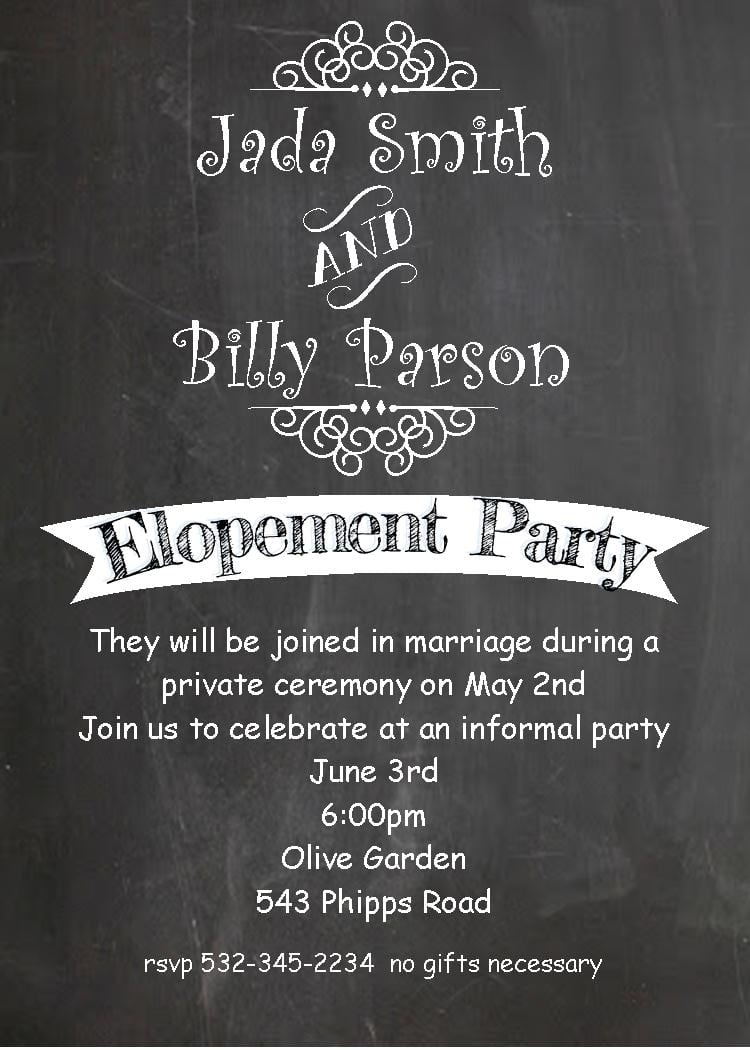 Invitation Wording Post Wedding Party