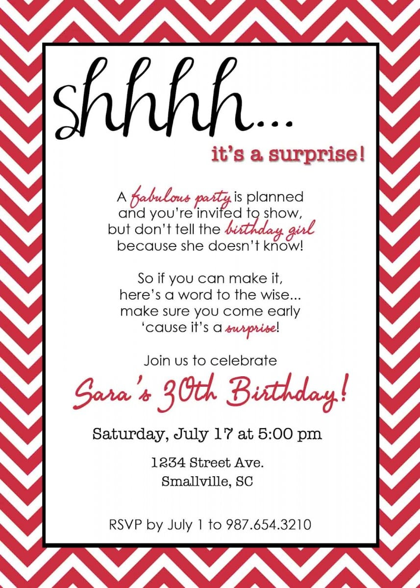 Invitation Wording Surprise Party