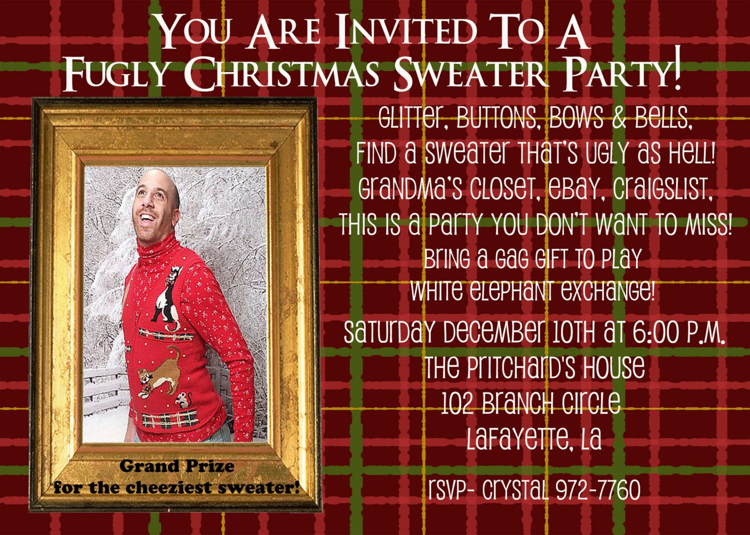 Invitation Wording Ugly Sweater Christmas Party