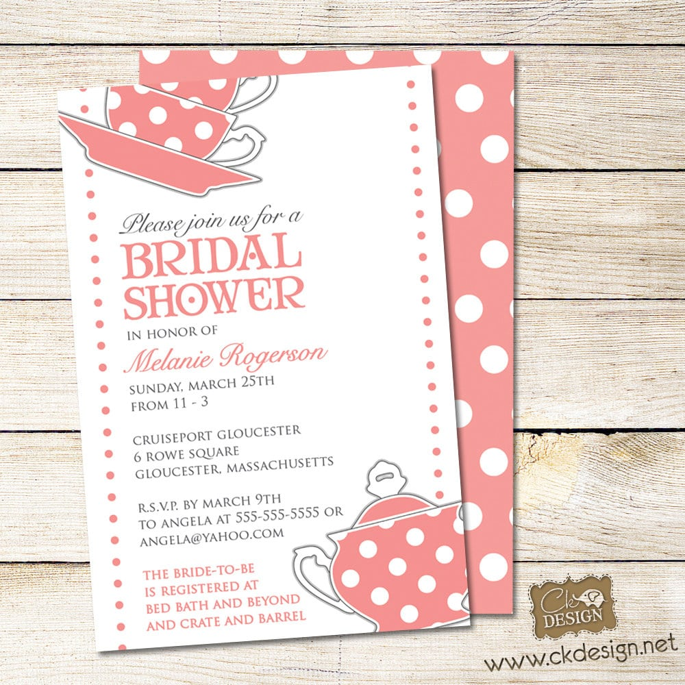 Invitations For A Bridal Shower Tea Party  Bridal Shower