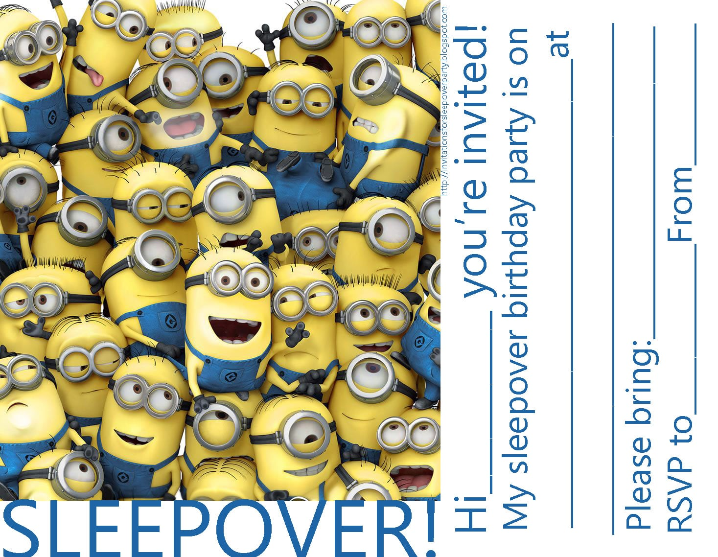 Invitations For Sleepover Party  Minions Despicable Me Party