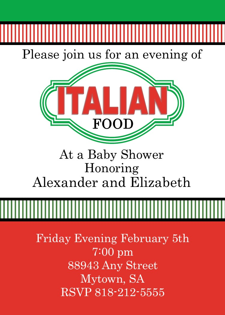 italian style bridal shower invitations - 28 images - items similar ...