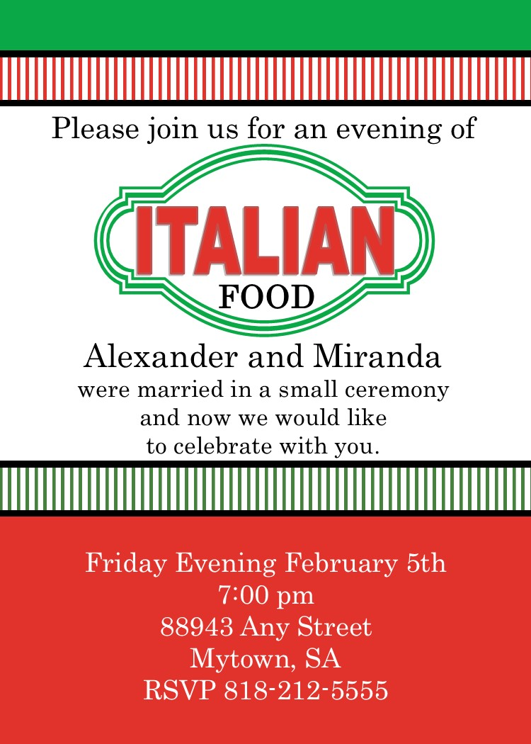 Italian Theme Party Invitations New Selections Spring 2017