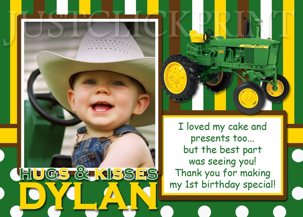 John Deere Inspired Birthday Photo Thank You Card · Just Click