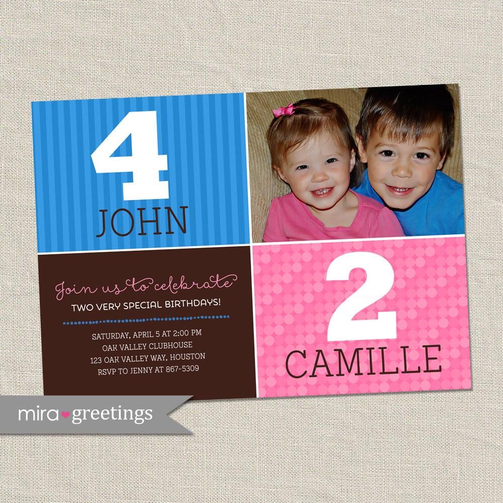 Joint Birthday Party Invitation, Boy & Girl, Girl Girl, Boy Boy