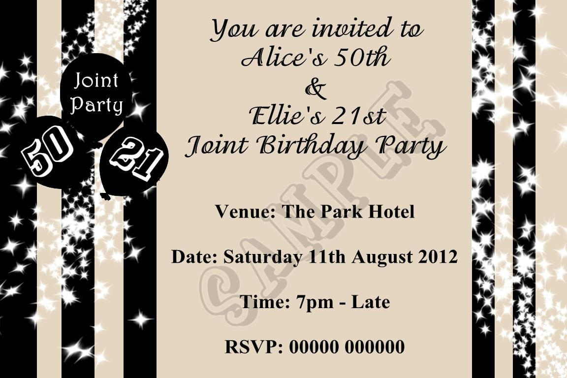 Joint Birthday Party Invitations For Adults