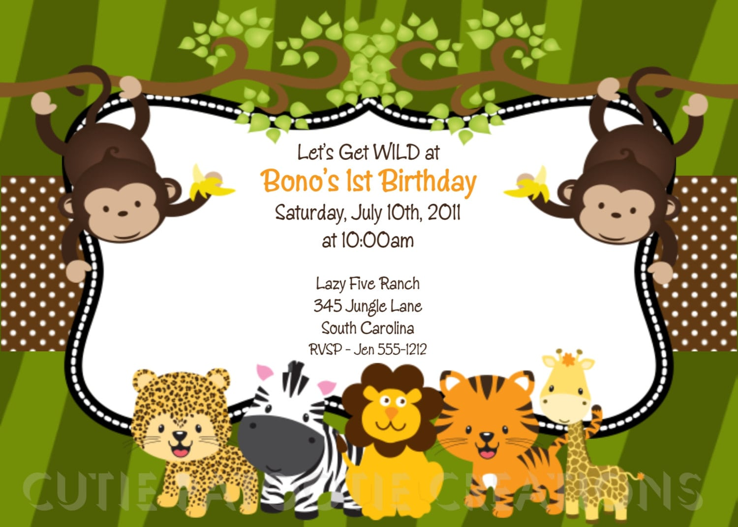 Jungle Birthday Invitation Wording Templates