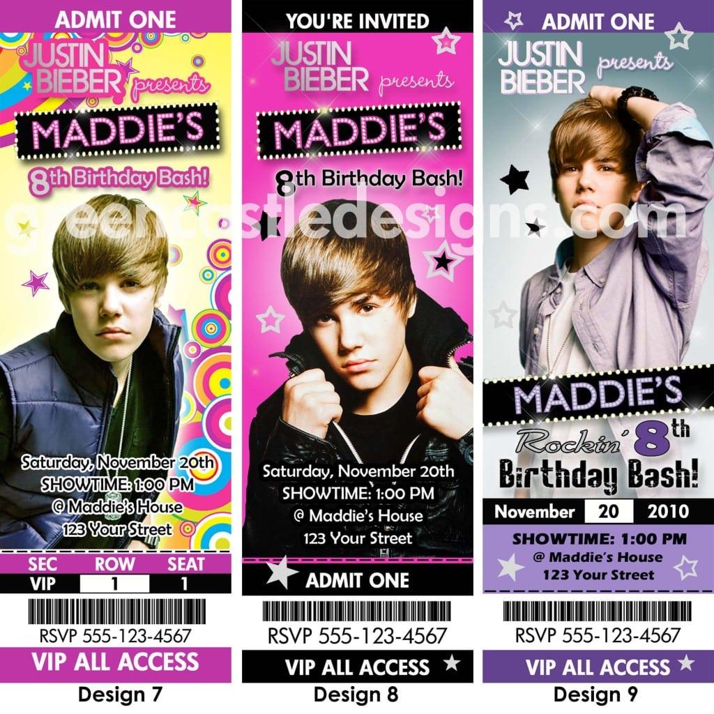 Justin Bieber Birthday Party Ticket Invitations Favors