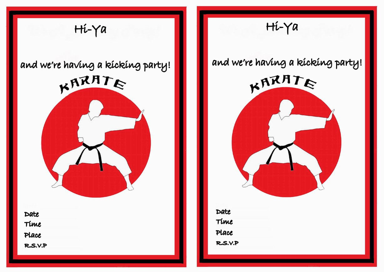 Karate Birthday Invitations – Birthday Printable