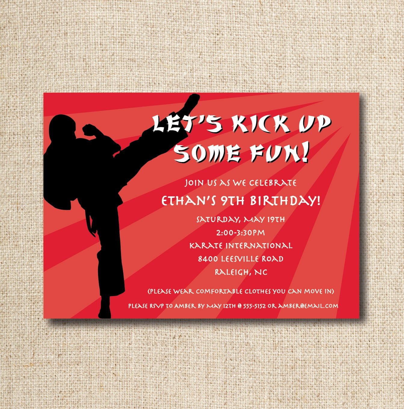 Karate Birthday Party Invitation Custom Printable File