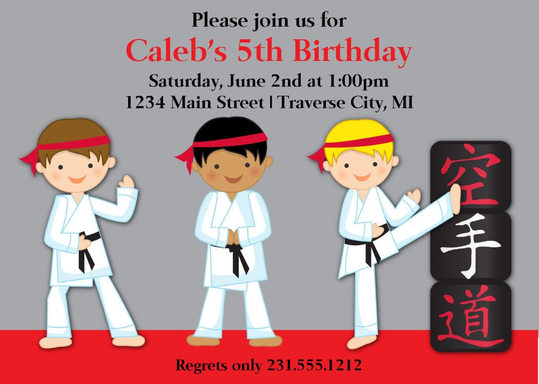 Karate Birthday Party Invitations
