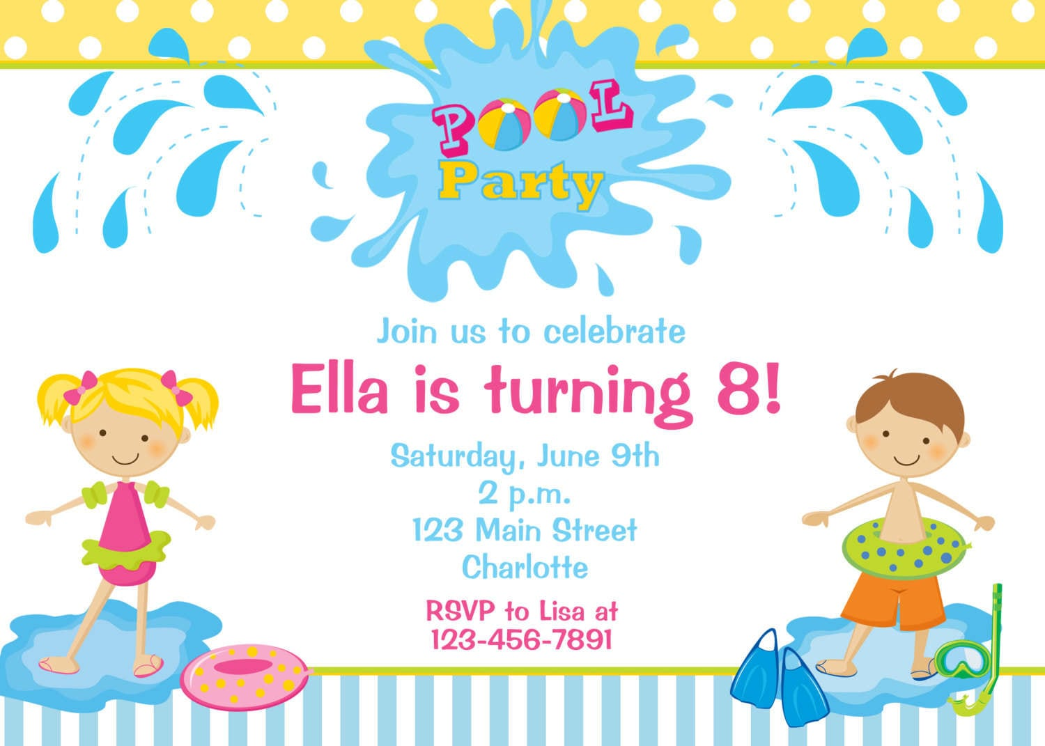 Kids Pool Party Invitation Mickey Mouse Invitations Templates - Party invitation template: pool party invitations templates