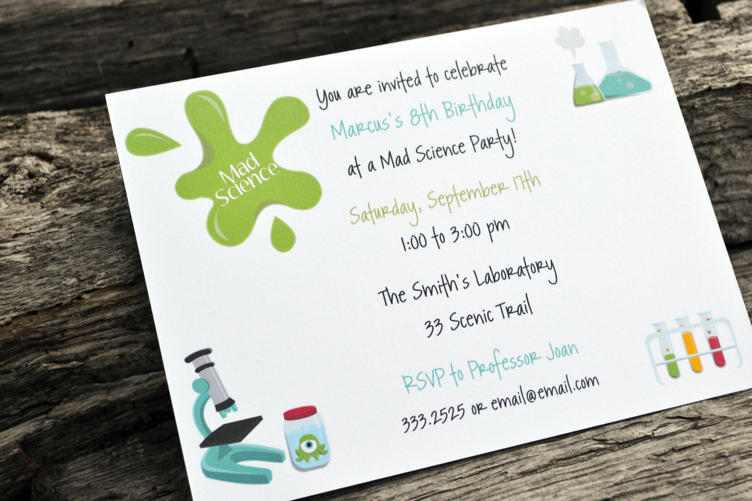 Kids Science Birthday Party Invitations   Kids Science Party